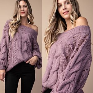 ▪️Mia Cable Knit Sweater - Purple▪️